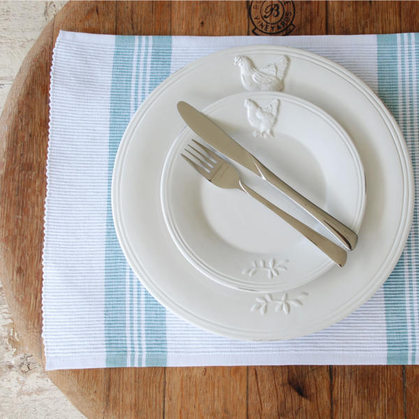 Duck Egg Blue and White Place Mats