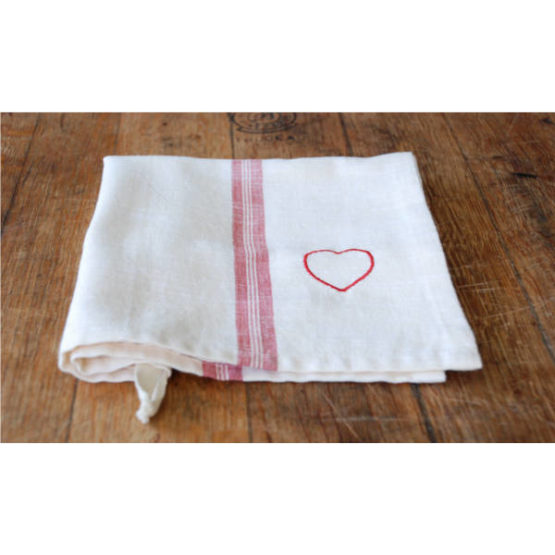 Red Hearts and Stripes Tea Towel